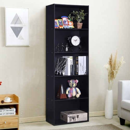 Costway 5-Shelf Storage Bookcase Modern Multi-Functional Display Cabinet Furniture Black Perspective: right