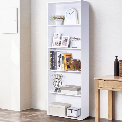 Costway 5-Shelf Storage Bookcase Modern Multi-Functional Display Cabinet Furniture White Perspective: right