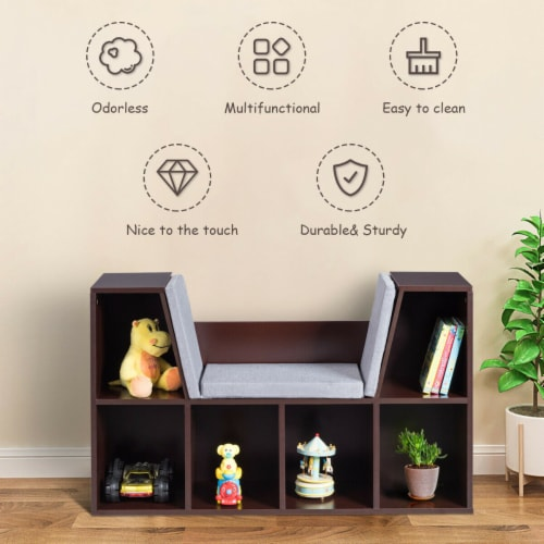 Costway 6 Cubby Kid Storage Cabinet Cushioned Bookcase Multi-Purpose Reading Shelf Brown Perspective: right