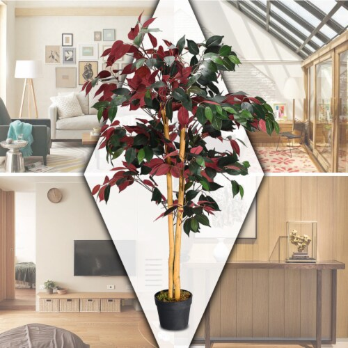 Gymax Artificial Capensia Bush Home Decor 4 Feet Red Green Leaves Perspective: right