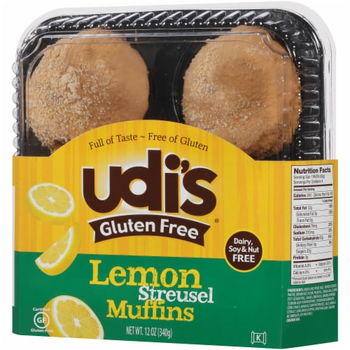 Udi's Gluten Free Lemon Streusel Muffins 4 Count Perspective: right