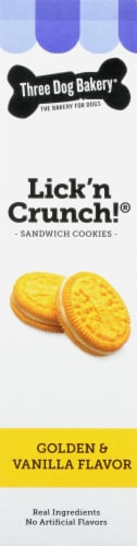 Three Dog Bakery Lick'n Crunch! Golden and Vanilla Sandwich Cookie Dog Treats Perspective: right