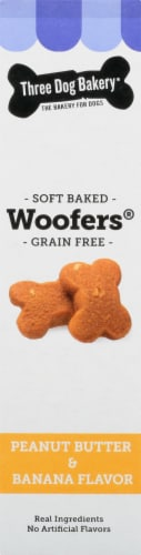 Three Dog Bakery Peanut Butter and Banana Flavored Woofers Dog Treats Perspective: right