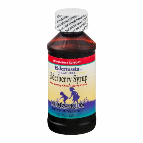 Herbs for Kids Eldertussin Sugar Free Elderberbery Syrup Perspective: right