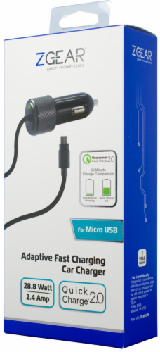 ZGear Quick Charge Micro USB Car Charger - Black Perspective: right