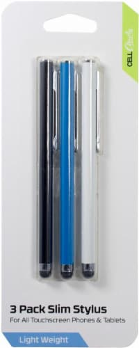 CELLCandy Slim Styluses - 3 Pack - Black/White/Blue Perspective: right