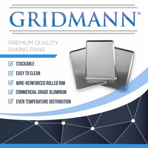 6 Pans Commercial Grade Aluminum Cookie Sheets by GRIDMANN Perspective: right