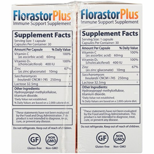 FlorastorPLUS Immune Support Capsules 250mg 30 Count Perspective: right
