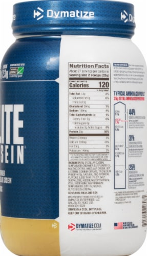 Dymatize Elite Casein Smooth Vanilla Protein Powder Perspective: right