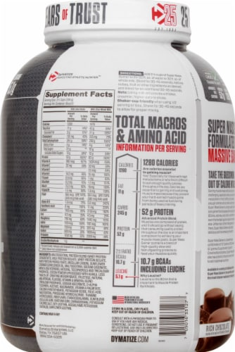 Dymatize Super Mass Gainer Rich Chocolate Dietary Supplement Perspective: right