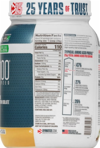 Dymatize ISO100 Hydrolyzed Natural Vanilla 100% Whey Protein Isolate Powder Perspective: right