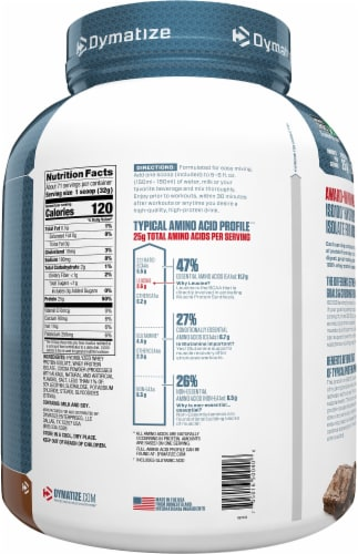 Dymatize ISO100 Hydrolyzed Fudge Brownie Flavored Whey Protein Isolate Perspective: right