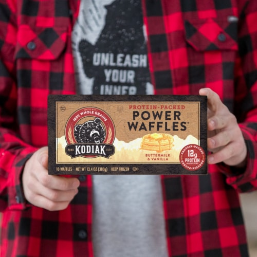 Kodiak Cakes Buttermilk and Vanilla Power Waffles 10 Count Perspective: right
