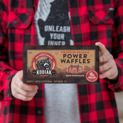 Kodiak Cakes Dark Chocolate Power Waffles Perspective: right