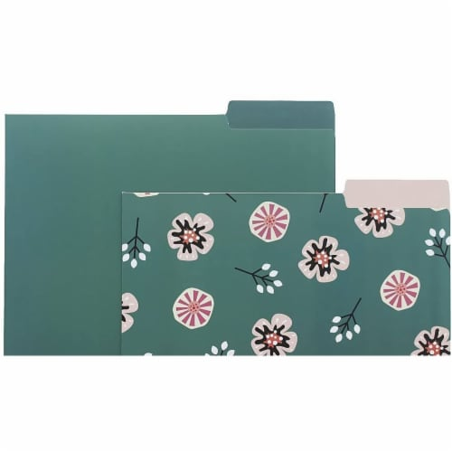 Decorative File Folders with Floral Designs, Letter Size (9.5 x 11.5 In, 12 Pack) Perspective: right