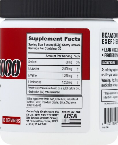 Evlution Nutrition  BCAA5000™   Cherry Limeade Perspective: right