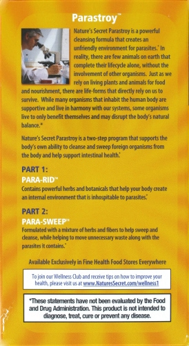 Nature's Secret Parastroy Cleanse & Sweep the Intestinal Tract Dietary Supplement Perspective: right