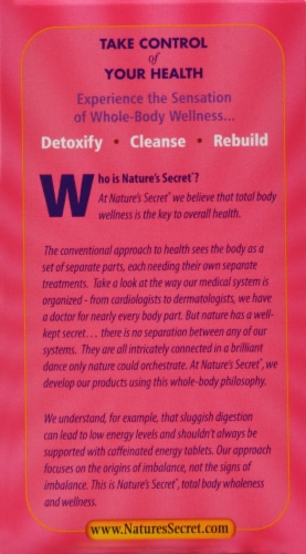 Nature's Secret Ultimate Urinary Cleanse Perspective: right