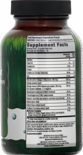 Irwin Naturals Advanced Ginkgo Smart Focus & Memory Dietary Supplement Soft Gels Perspective: right