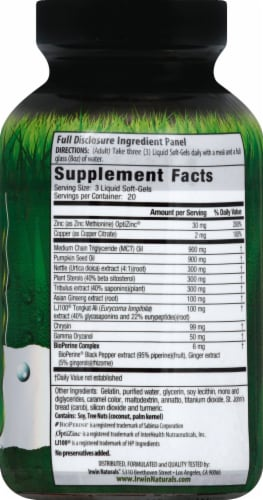 Irwin Naturals Testosterone UP Dietary Supplement Liquid Soft Gels Perspective: right