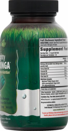 Irwin Naturals Mighty Moringa Liqid Soft-Gels 1000mg 60 Count Perspective: right
