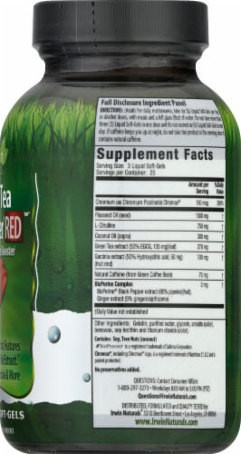 Irwin Naturals Green Tea Fat Burner Red with Nitric Oxide Booster Dietary Supplement Perspective: right