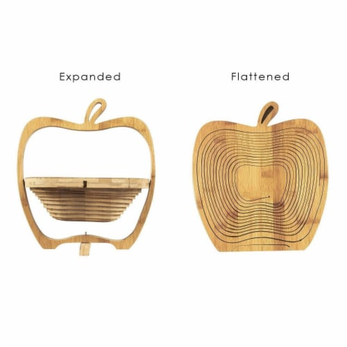 Juvale Apple Design Collapsible Bamboo Fruit Bowl - Fruit Basket, Brown, 10.5 x 11.7 x 8.7 Perspective: right