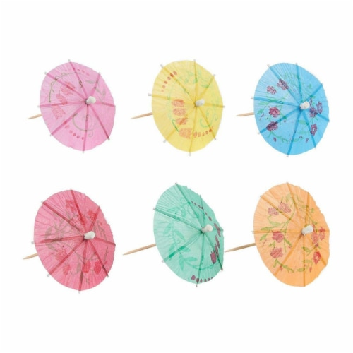 200-Pack Tropical Hawaiian Party Paper Cocktail Umbrella Parasols, Assorted Colors, 4 Inches Perspective: right