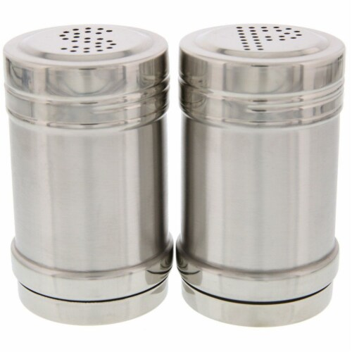 Stainless Steel Salt and Pepper Shakers for Kitchen - 3.5 Inch Perspective: right