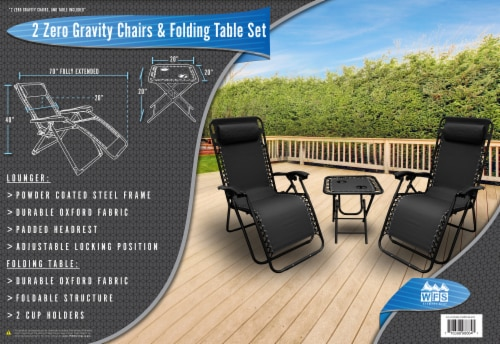 World Famous Sports Lounge Chairs & Folding Table Set Perspective: right