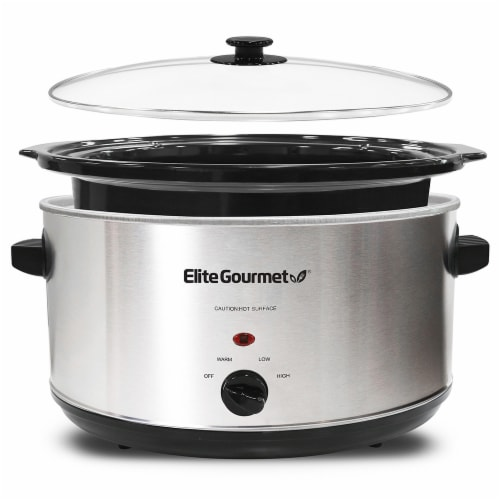 Elite Gourmet Stainless Steel Slow Cooker - Silver Perspective: right