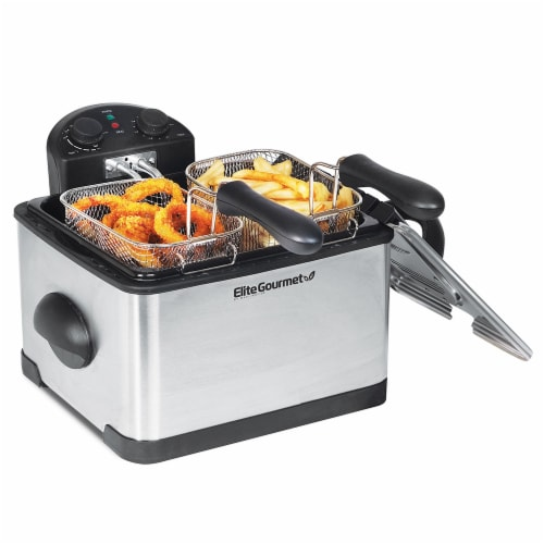 Elite Platinum Dual Deep Fryer with Baskets Perspective: right