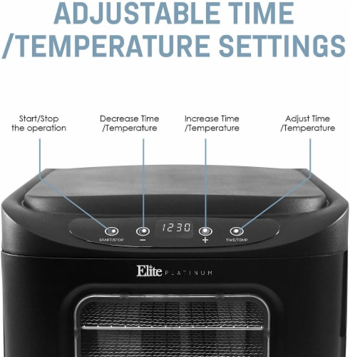 Elite by Maxi-Matic Stainless Steel Tray Programmable Food Dehydrator Perspective: right