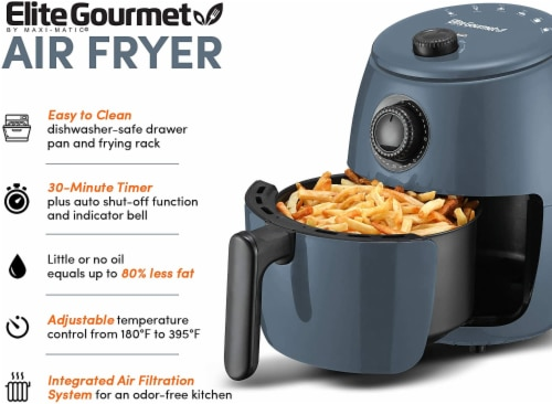 Elite Gourmet Hot Air Fryer - Blue Gray Perspective: right