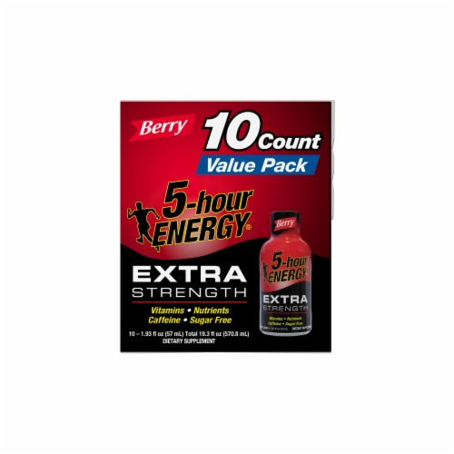 5-Hour Energy Shot Extra Strength Berry 10 Count Perspective: right