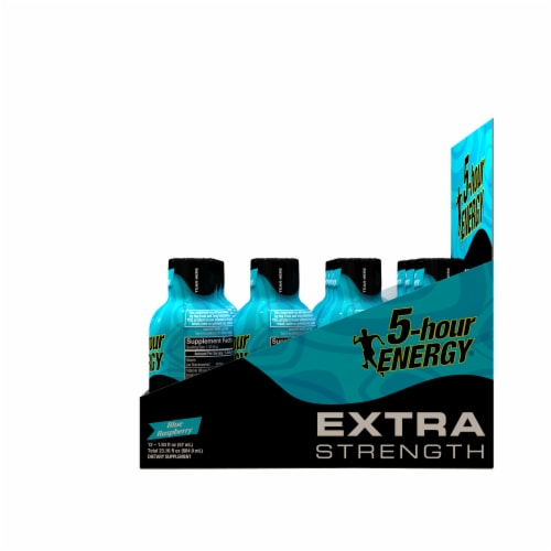 5-Hour Energy Extra Strength Blue Raspberry Energy Shots Perspective: right