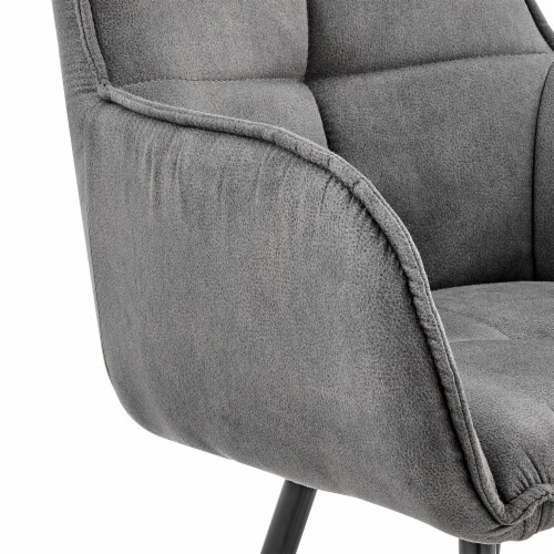 """Verona 26"""" Counter Height Bar Stool in Charcoal Fabric and Black Finish Perspective: right"""