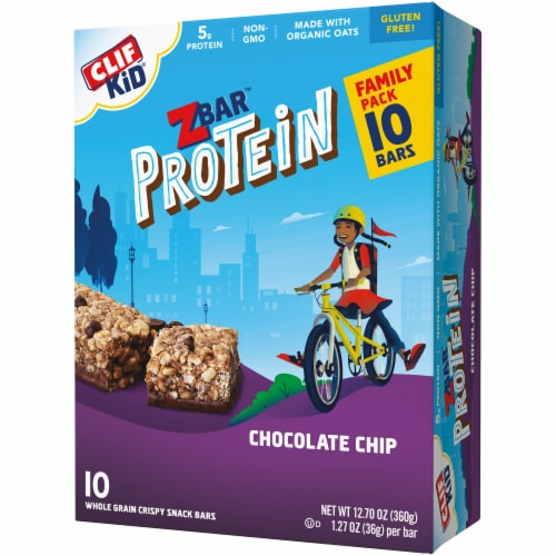 Clif ZBar Kid Protein Chocolate Chip Whole Grain Crispy Snack Bars Perspective: right