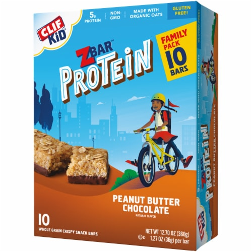 Clif Z Bar Kid Protein Peanut Butter Chocolate Whole Grain Crispy Snack Bars Perspective: right