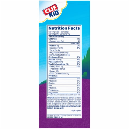 Clif Kid Zbar Organic Chocolate Chip Baked Whole Grain Energy Snack Bars Perspective: right