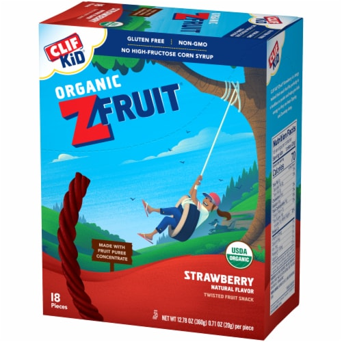 Clif Kid Organic ZFruit Strawberry Twisted Fruit Snack 18 Count Perspective: right