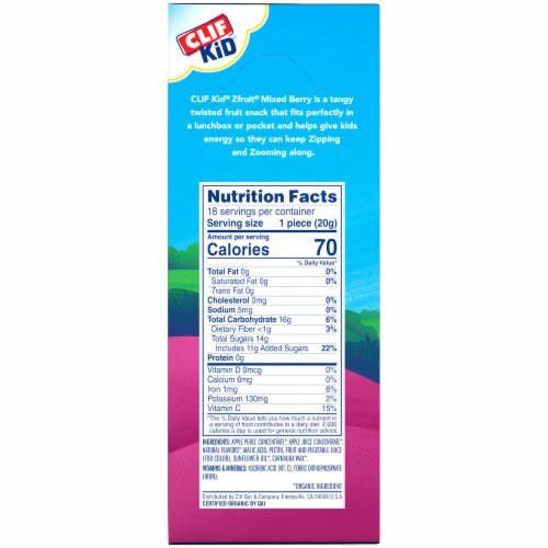 Clif Kid Organic ZFruit Mixed Berry Twisted Fruit Snacks Perspective: right