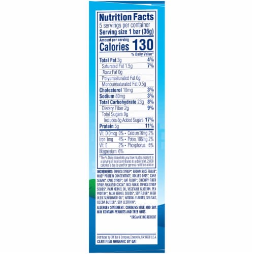 Clif Kid ZBar Protein Cookies n Creme Whole Grain Crispy Snack Bars Perspective: right