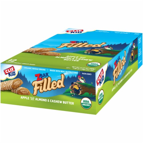 Clif Kid Zbar Filled Apple Filled with Almond & Cashew Butter Baked Energy Snack Bars Perspective: right