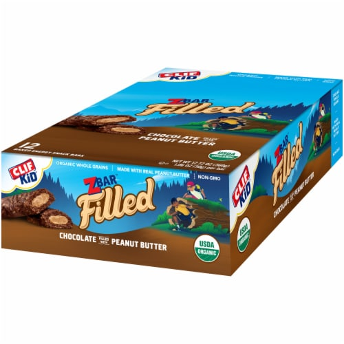 Clif Kid Organic Zbar Filled Chocolate Filled with Peanut Butter Baked Energy Snack Bars Perspective: right