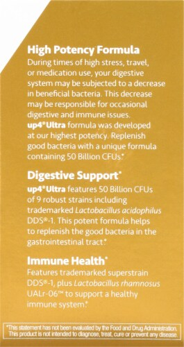 UP4 Ultra High Potency Probiotics Vegetarian Capsules Perspective: right