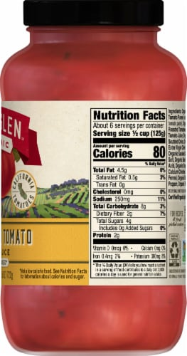 Muir Glen Organic No Sugar Added Fire Roasted Tomato Pasta Sauce Perspective: right