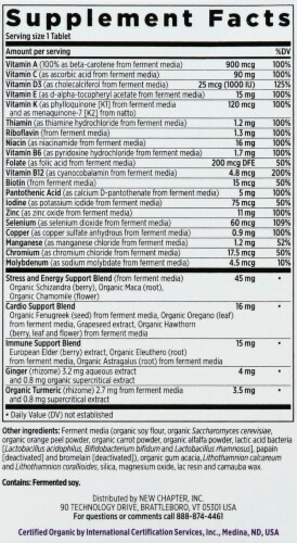 New Chapter Every Man's One Daily Whole-Food Multivitamin Vegetarian Tablets Perspective: right