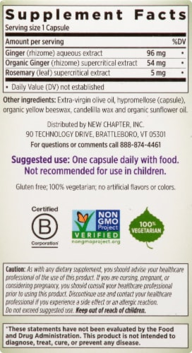New Chapter Ginger Force Dietary Supplement Vegetarian Capsules Perspective: right