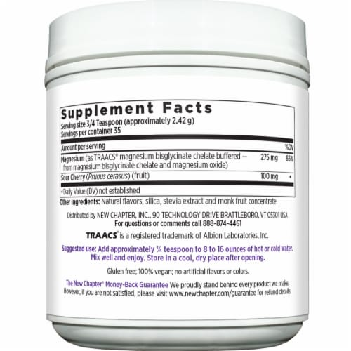 New Chapter Women's Natural Lemon Raspberry Flavor Magnesium Powder Perspective: right
